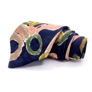 Zylos Tie Blue Silk Floral Pattern